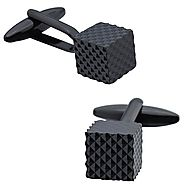 Black Geometric Patterned Cube Cufflinks