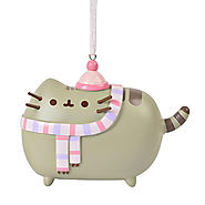 Pusheen Ornament With Pink Hat And Scarf