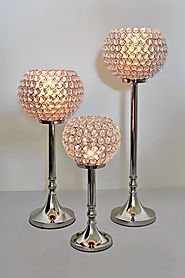 Crystal Pillar Candle Holder Set of 3