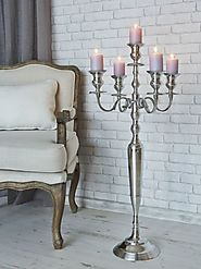 40 Inch Silver Plated Metal 5 Arm Candelabra