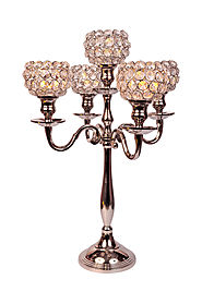 Silver Plated 5 arm crystal candelabra