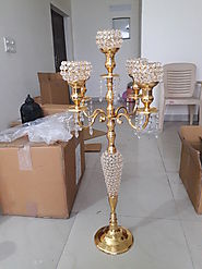 Awesome Gold 5 Arm Luxury Crystal Candelabras 100CM Tall