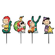 ProductWorks 8-Inch Pre-Lit Peanuts Christmas Joy Pathway Markers (Set of 4)