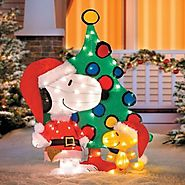 "42"" Peanuts Snoopy & Woodstock 3-Piece Pre-Lit Lighted Tinsel Yard Art"