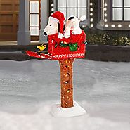"45"" Animated Pre-Lit Snoopy on Mailbox"