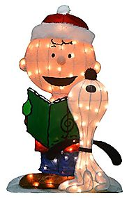 ProductWorks 32-Inch Pre-Lit Peanuts Charlie Brown and Singing Snoopy Christmas Yard Decoration, 70 Lights