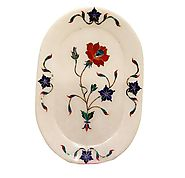 Marble Inlay Tray Multicolour Pietra Dura Work