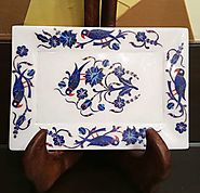 Marble Inlay Tray Having Beautiful Full Lapis Work