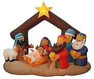 Inflatable Nativity Scene Lighted Christmas Yard Art Decoration, 6.5'