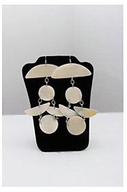 BULL HORN BIG EARRINGS WITH ROUND DESIGN HOOKS