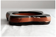 "BULLHORN AND WOOD SQUARE ROUNDED DESIGN BRACELET 1"" THICKNESS"