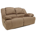 Signature Design by Ashley Furniture Hogan - Mocha Reclining Loveseat with Padded Arms at Sam's Furniture & Appliance