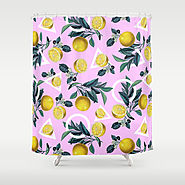 Geometric and Lemon pattern Shower Curtain