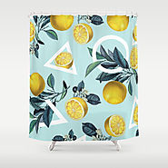 Geometric and Lemon pattern III Shower Curtain