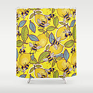 Yellow lemon and bee garden. Shower Curtain