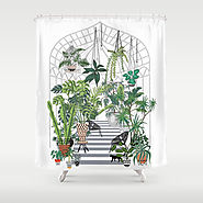 greenhouse illustration Shower Curtain