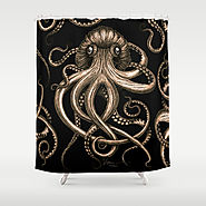 Bronze Kraken Shower Curtain