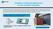 Checklist for Finding the Right Service for your Container Unloading