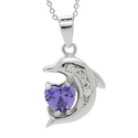 Amazon.com: .925 Sterling Silver Cz Heart Shaped Simulated Amethyst Color Prong Set Cute Dolphin Pendant Ncklace 18':...