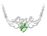 Amazon.com: Adorable Genuine 18k White Gold Plated Hollow Style Letter Love Angel Wings with Heart Shaped Peridot Gre...