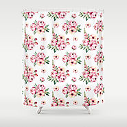Pink Flower Party Pattern Shower Curtain