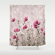 Poppy Pastell Pink Shower Curtain