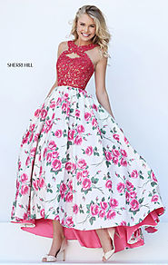 Sherri Hill 50481 Beaded Pink/Ivory Halter Neckline 2017 Lace Applique Cutout Long Floral Printed Prom Dresses [Sherr...