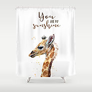 You Are My Sunshine Giraffe Nursery Animals Watercolor Art Shower Curtain