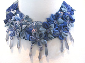 """Sabrina"" Floral Soft Necklace (Blue) Fabric Statement Jewelry"