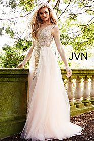 Blush Embellished Plunging Neck Column Prom Dress JVN41677