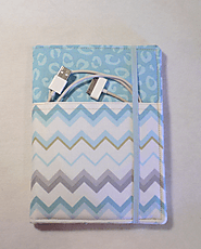 Kindle cover Hardcover, Kindle Paperwhite Cover, iPad Mini, (New Outside Pockets) Blue Chevron