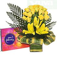 Buy/Send Joyous Yellow Basket Online - YuvaFlowers.com