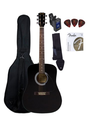 Fender FA-100 Dreadnought Acoustic Guitar Bundle with Gig Bag, Tuner, Strap, Picks, Strings - Black