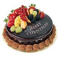 Order/Send Christmas Chocolate Fruit Cake One Kg Online Same Day Delivery - OyeGifts.com