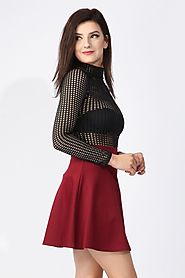 Go Stylish & Grab the Eyeballs with High Waisted Wine Skater Skirt at Missi London - Acquire