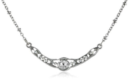"Downton Abbey ""Stardust Carded"" Silver-Tone Crystal Petite Edwardian Necklace"