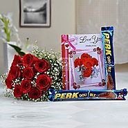 Bunch of 10 Roses with 2 Bars of Perk Chocolate & Love Card