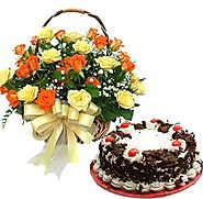 Buy/Send Roses Basket With Cake Online - YuvaFlowers.com