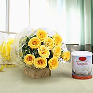 Send Yellow Magic (10 Yellow Rose,Rasgulla Tin 1kg) online @ Best Price