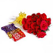 Buy/Send Bouquet of 20 Red Roses and Assorted Cadbury Chocolate Bars - YuvaFlowers