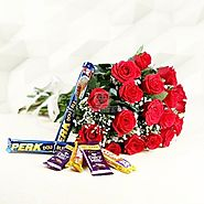 Bunch of 18 Red Roses with 6 Bars of Chocolates