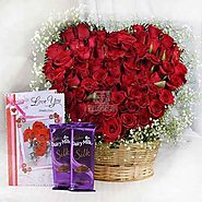 50 Red Roses Heart Shaped Basket Arrangement with Card & Dairy Milk Silk