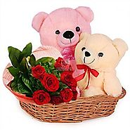 Send 10 RED ROSES WITH TEDDY Same Day Delivery - OyeGifts