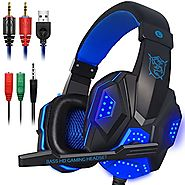 Gaming Headset with Mic and LED Light for Laptop Computer, Cellphone, PS4 and so on, DLAND 3.5mm Wired Noise Isolatio...