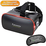 Pansonite 3D VR Glasses Virtual Reality Headset with Remote Controller for VR Games & 3D Movies, Lightweight and Comf...