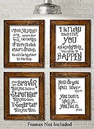 Winnie the Pooh Quotes and Sayings Art Prints - Set of Four Photos (8x10) Unframed - Great Gift for Nursery Rooms, Bo...