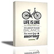 Quotes Wall Art Decor, Well-known Saying Aphorism Life Is Like Riding a Bicycle, To Keep Your Balance You Must Keep M...