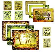 Family 12 Piece Premium Quality Magnetic Picture Frames and Refrigerator Magnets with Inspirational Quotes Photo Coll...
