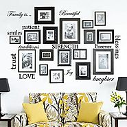 Set of 12 Family Quote Words Vinyl Wall Sticker Picture Frame Wall Family Room Art Decoration #1332 (Matte Black)