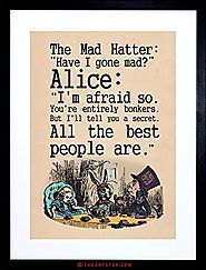 QUOTE CARROLL BOOK ALICE WONDERLAND MAD HATTER TEA PARTY FRAMED PRINT F97X9832